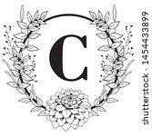 vector graphic floral alphabet  ... | Shutterstock .eps vector #1454433899