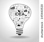 light bulb with drawing icons... | Shutterstock .eps vector #145443520