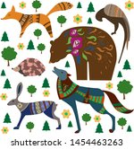 wild forest animals includes a... | Shutterstock .eps vector #1454463263