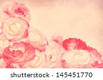 beautiful pink roses on pastel  ... | Shutterstock . vector #145451770