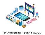 technology startup isometric...