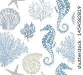 marine vector hand drawn... | Shutterstock .eps vector #1454582819