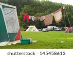 Stock photo tents and a clothing line on a campsite in the belgian ardennes 145458613