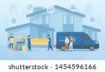 happy family moving into new... | Shutterstock .eps vector #1454596166