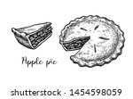 Apple Pie. Ink Sketch Isolated...