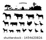 set silhouettes domestic farm... | Shutterstock .eps vector #1454620826