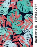 tropical leaf floral seamless... | Shutterstock .eps vector #1454650199