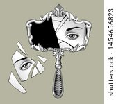 broken retro mirror with a... | Shutterstock .eps vector #1454656823