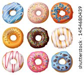 set of cartoon donuts isolated... | Shutterstock . vector #1454680439