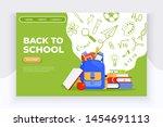 back to school banner. backpack ... | Shutterstock .eps vector #1454691113