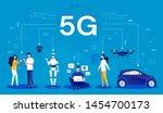 5g concept. cartoon infographic ... | Shutterstock .eps vector #1454700173