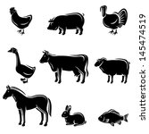 farm animals set. vector | Shutterstock .eps vector #145474519