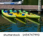 three colorful kayaks are tied... | Shutterstock . vector #1454747993