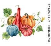 watercolor card with pumpkins... | Shutterstock . vector #1454769626