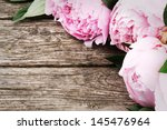 floral frame with pink peonies... | Shutterstock . vector #145476964