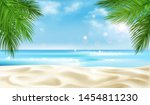 sea beach with palm tree leaves ... | Shutterstock .eps vector #1454811230