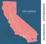 California Usa Map Road Poster...