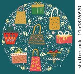 round shape with gift bags and... | Shutterstock .eps vector #1454826920