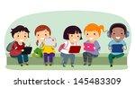 illustration of stickman kids... | Shutterstock .eps vector #145483309