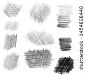 Hand drawn pencil texture set, different shapes. Doodle and sketch style.