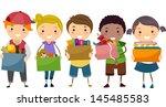 illustration of stickman kids... | Shutterstock .eps vector #145485583