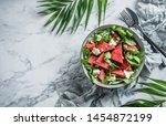 fresh summer watermelon salad... | Shutterstock . vector #1454872199