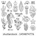Sea Life Icon Set. Coral Star...
