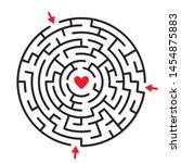 round labyrinth maze game  find ... | Shutterstock .eps vector #1454875883
