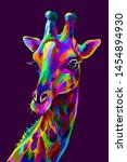 giraffe. abstract  colorful... | Shutterstock .eps vector #1454894930