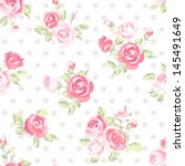 seamless cute vintage rose ... | Shutterstock .eps vector #145491649