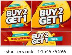 buy 2 get 1 promotion. free... | Shutterstock .eps vector #1454979596