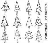 set of hand drawn christmas... | Shutterstock .eps vector #1455004976