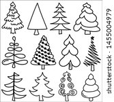 set of hand drawn christmas... | Shutterstock .eps vector #1455004979