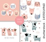 Stock vector cute baby animals seamless pattern for fabrics textiles children s wear wrapping paper vector 1455014960