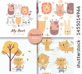 colorful doodle animals... | Shutterstock .eps vector #1455014966