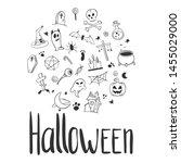 halloween set. pumpkin and... | Shutterstock .eps vector #1455029000