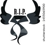 mourning ribbon with black... | Shutterstock .eps vector #1455065900