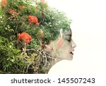 artistic surreal female profile ... | Shutterstock . vector #145507243