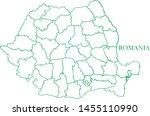 romania green line map vector | Shutterstock .eps vector #1455110990