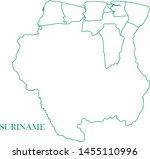 suriname green line map vector | Shutterstock .eps vector #1455110996