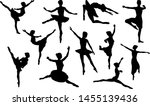 ballet dancer in silhouette... | Shutterstock .eps vector #1455139436