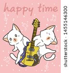 kawaii cats and the guitar in... | Shutterstock .eps vector #1455146300
