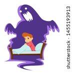 kid in bed nightmare childish... | Shutterstock .eps vector #1455193913