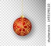 christmas ball. red christmas... | Shutterstock .eps vector #1455198110