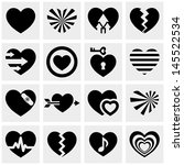 hearts vector icons set on gray.... | Shutterstock .eps vector #145522534