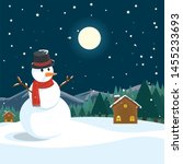 snowman outside the house. xmas ... | Shutterstock .eps vector #1455233693