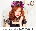 beautiful red haired girl in a... | Shutterstock . vector #1455234419
