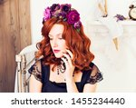 beautiful red haired girl in a... | Shutterstock . vector #1455234440
