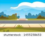 street traffic sign lamp post... | Shutterstock .eps vector #1455258653