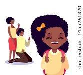 parents with school girl student | Shutterstock .eps vector #1455261320